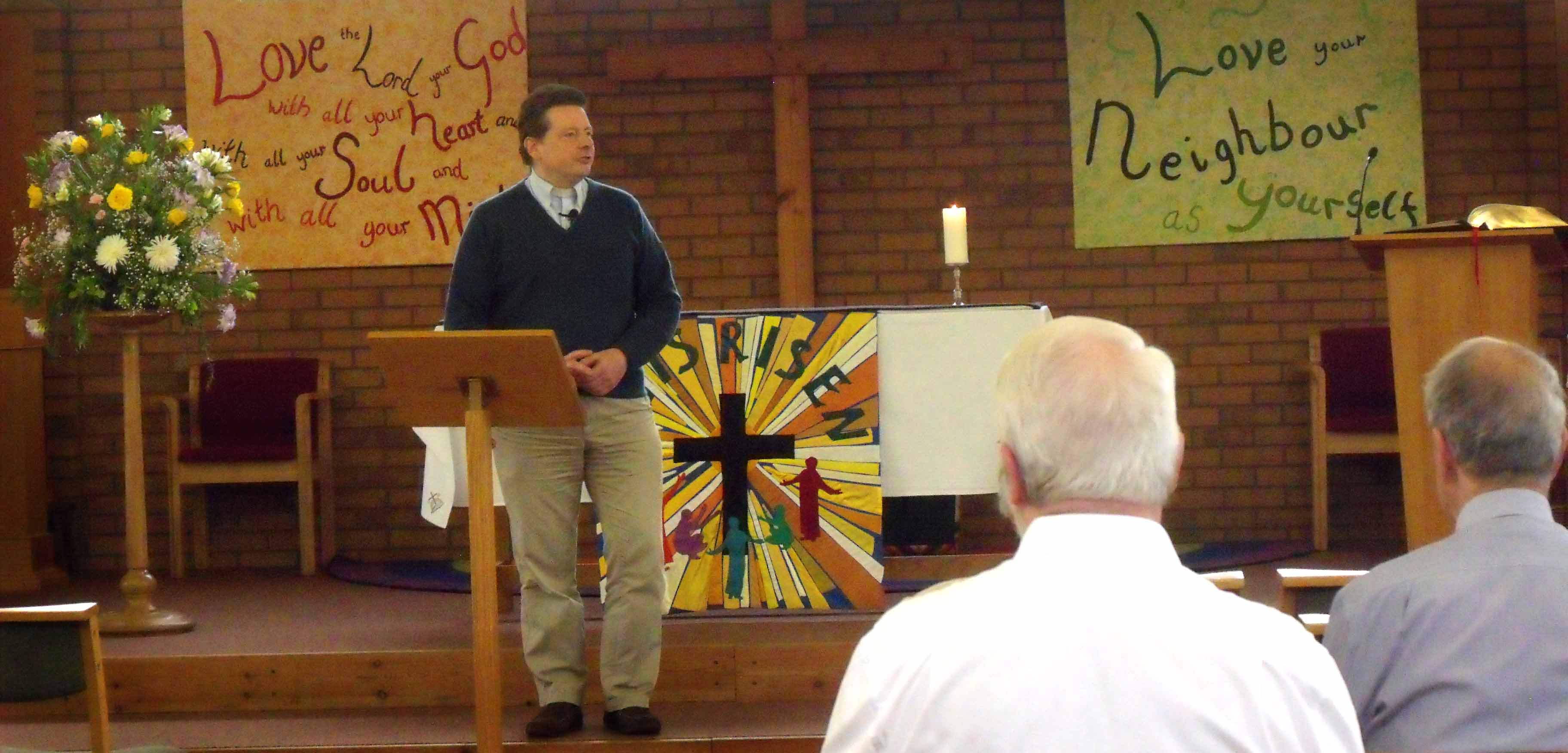 Revd Paul Hinckley during his sermon at Sunday Service